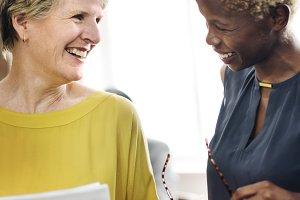 Business woman make conversation