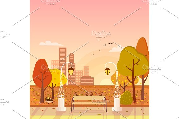 Autumn Park And Cityscape Vector Illustration