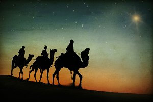 The three kings following the star