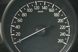 Speedometer of a black car. Car Dashboard