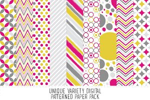 Bright Pink & Yellow Pattern Paper