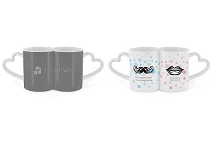 Full Heart Shape Handle Couple Mug