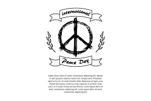 International Peace Day Poster Hippie Sign Icon