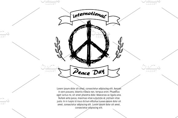 International Peace Day Poster Hippie Sign Icon in Objects