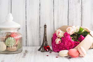 French macarons cookies and flowers