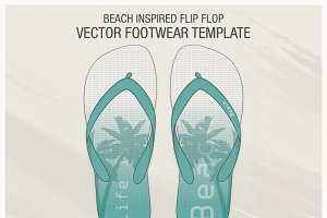 Beach Inspired Flip Flop Vector