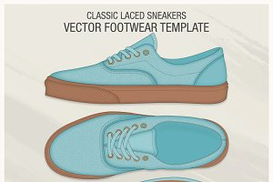 Classic Laced Sneakers Vector