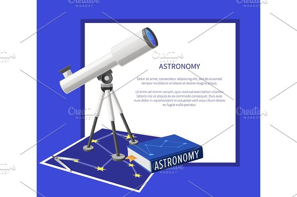 Astronomy Banner With Frame Place For Text Vector
