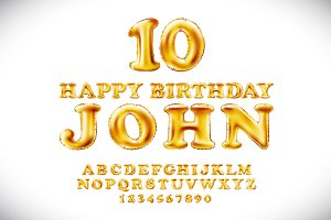 Happy birthday JOHN Gold Balloons