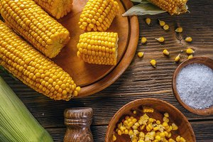 Homemade golden corn cob