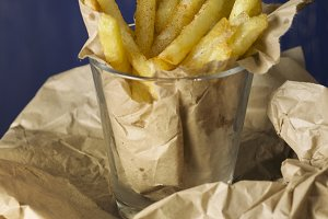 fries, homemade, wrapped in paper, o