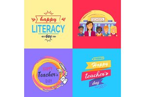 Happy Teacher's Day Collection of Colorful Posters