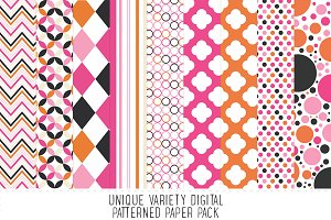 Posh Pink & Orange Pattern Paper