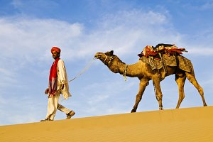 Indigenous Indian man with camel