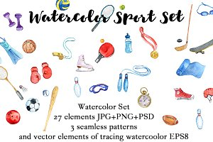 Watercolor sport set