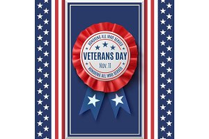 Veterans Day badge on abstract American background.