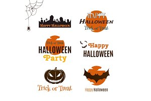 Set of Halloween typographic banners.