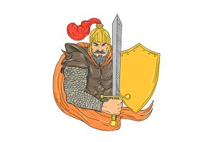 Old Knight Sword Shield Drawing