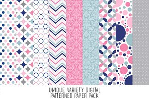 Navy Blue & Pink Pattern Paper Pack