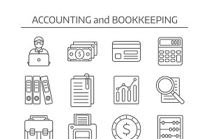 Accounting Line Icons Set