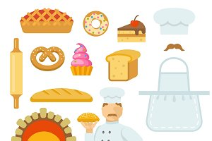 Bakery Decorative Flat Icons Set