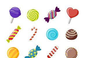 Assorted Candies Flat Icons Set