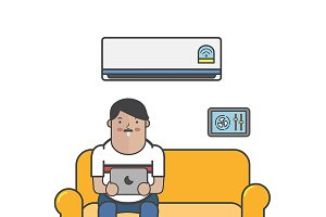 Illustration of man in living room