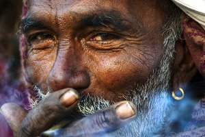 Indigenous Indian man smoking