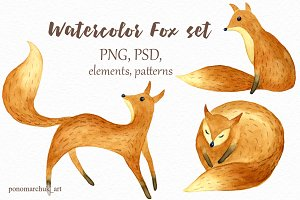 Watercolor fox set
