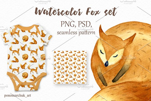 Watercolor fox set in Patterns - product preview 3