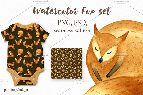 Watercolor fox set in Patterns - product preview 4