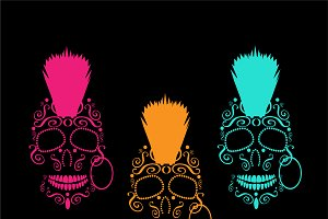 Skull icons with mohawk neon
