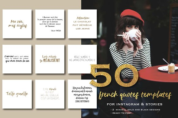 50 French Quotes For Instagram Instagram Templates Creative Market
