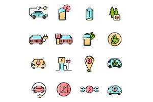 Electric Car icons set. Colored with thin line contour sign.