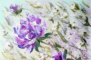 Hand painted modern style Purple peonies flowers