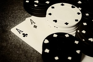 Double ace in black and white