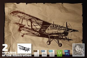 Plane on old paper background