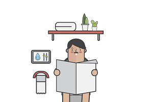 Illustration of man in toilet