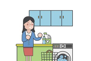 Illustration of woman laundry