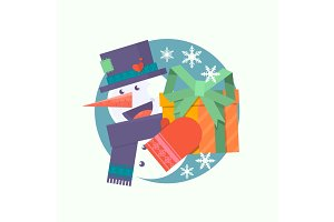 Christmas card with snowman holding present.Flat vector illustration