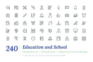 240 Education and School Line Icon