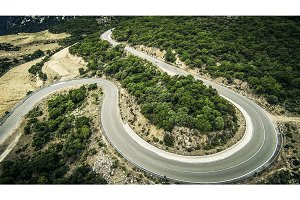 Winding Country Road In Sardinia's Mountains