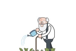 Illustration of man watering plants