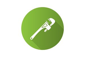 Monkey wrench, spanner, plumber flat design long shadow glyph icon