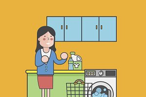 Illustration of woman in laundry