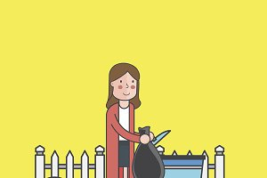 Illustration of woman throwing trash
