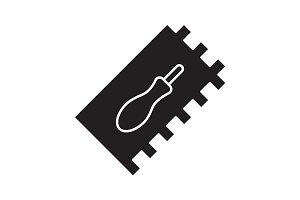 Rectangular notched trowel glyph icon