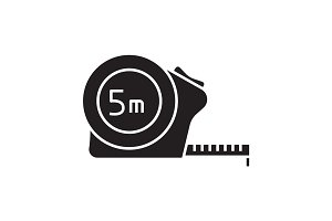 Measuring tape glyph icon