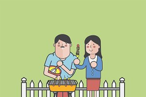 Illustration of couple barbecuing