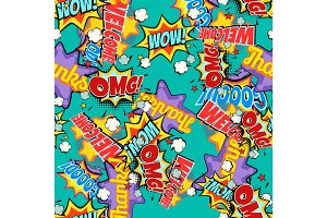 Comic book words pop art background. Seamless pattern